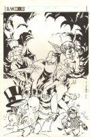 Gaijin Studios Christmas Card Jam Piece - Adam Hughes, Brian Stelfreeze, Cully Hamner, and Karl Story - 1999 Signed Comic Art