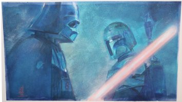 Star Wars: Darth Vader and Boba Fett Painted Art Commission Example - Signed Comic Art