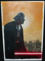 Star Wars: Vader Down Unpublished Painted HOT TOPIC Variant Cover - Great Darth Vader - 2015 Signed Comic Art