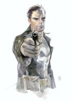 Punisher Watercolor Commission Example - Now Accepting Commissions for the New York Comic Con 2016 Comic Art