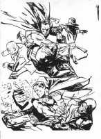 Daredevil Series Published Drawings #5 - Hero Action Comic Art