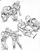 Daredevil Series Published Drawings #7 - Daredevil vs. Gladiator Comic Art