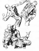 Daredevil Series Published Drawings #10 - Daredevil vs. Hoods Comic Art