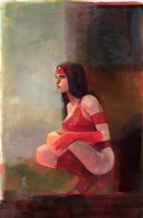 Elektra Crouching Watercolor Painting - LA - 2018 Signed Comic Art