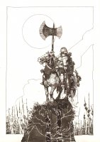 Medieval Iron Man on Horse with Lots of Impaled Heads - LA Comic Art