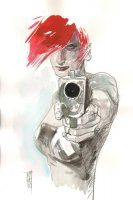Scarlet Watercolor Commission Example - Now Accepting Commissions for the New York Comic Con 2016 Comic Art
