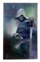 Doctor Doom Unmasked with Sword Painting - LA - 2018 Signed Comic Art