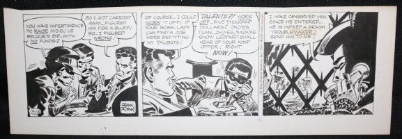 Johnny Hazard Daily Strip - Johnny at Poker Table - 9/18/1969 Signed  Comic Art