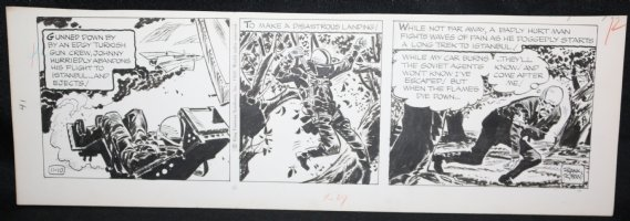 Johnny Hazard Daily Strip - Johnny Ejects from Jet - 11/10/1969 Signed  Comic Art