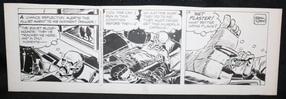Johnny Hazard Daily Strip - Bayer hides Microfilm from Soviet Blood-hounds - 11/19/1969 Signed  Comic Art