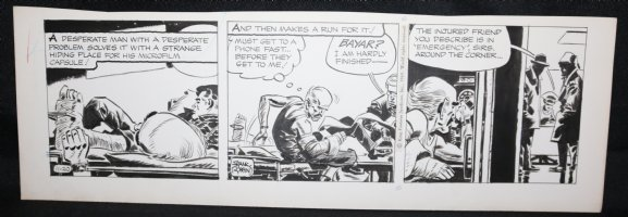 Johnny Hazard Daily Strip - Bayer hides Microfilm and makes a run for it - 11/20/1969 Signed  Comic Art