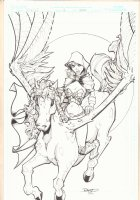 Power of the Valkyrie - Flying Horse - 2006 Signed Comic Art
