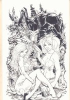 Catwoman, Poison Ivy, and Harley Quinn Pin-Up - 2015 Signed Comic Art