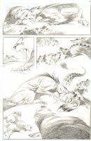 God the Dyslexic Dog p.85 Sabertooth Tiger vs Alligator Splash - Pencil Comic Art