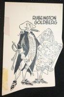 Rube Goldberg with Ben Franklin Gag - 1960's Comic Art