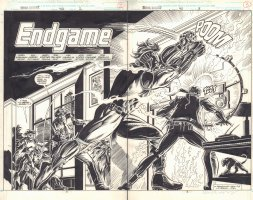 Marc Spector: Moon Knight #40 pgs. 2 & 3 - 'Endgame' Title Splash DPS - 1992 Comic Art