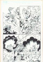 Deadpool Corps #10 p.12 - Lady Deadpool, Kidpool, and Dogpool - Blue Line Ink Art Only of Marat Mychaels Pencils - 2011 Comic Art