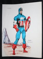 Captain America Full Length Vintage Color Commission - Signed Comic Art