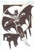 Batgirl Swinging in the Air Full Figure Commission - 2012 Signed Comic Art