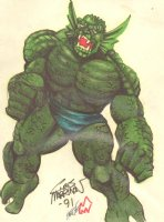 Abomination Color Commission Art (signed) 9 x 12 Comic Art