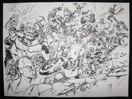 Huge Marvel Heroes vs. Villains Piece - LA - Thanos, Vision, Iron Man, Captain America, Groot, Drawx. Hulk, Thor, Starlord, Rocket Raccoon, Black Widow, Hawkeye, Ant-Man, & More Battle - Signed Comic Art
