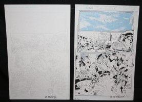 Blue Jacket p.1 - Mecha Man Action - Set of 2: Pencil and Blue Line Ink Art Only Pages - Signed Comic Art