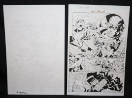 Blue Jacket p.2 - Mecha Man Action vs Other Mecha Men - Set of 2: Pencil and Blue Line Ink Art Only Pages - Signed Comic Art