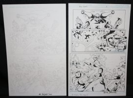 Blue Jacket p.3 - Mecha Man Blasts Other Mecha Men - Set of 2: Pencil and Blue Line Ink Art Only Pages - Signed Comic Art