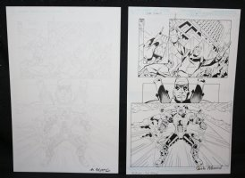 Blue Jacket p.4 - Great Mecha Man - Set of 2: Pencil and Blue Line Ink Art Only Pages - Signed Comic Art