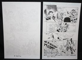 Blue Jacket p.5 - Mecha Man Victorious - Set of 2: Pencil and Blue Line Ink Art Only Pages - Signed Comic Art