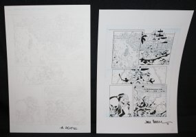 Lightning p.1 - Pirates - Set of 2: Pencil and Blue Line Ink Art Only Pages - Signed Comic Art