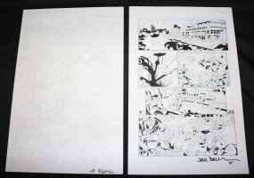 Lightning p.2 - Pirates Action - Set of 2: Pencil and Blue Line Ink Art Only Pages - Signed Comic Art