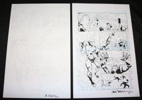 Lightning p.3 - Electricity Hero vs. Pirates - Set of 2: Pencil and Blue Line Ink Art Only Pages - Signed Comic Art