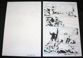 Lightning p.4 - Electricity Hero vs. Pirates Action - Set of 2: Pencil and Blue Line Ink Art Only Pages - Signed Comic Art