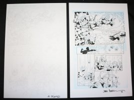 Lightning p.5 - Electricity Hero Defeats Pirates and Kisses Babe - Set of 2: Pencil and Blue Line Ink Art Only Pages - Signed Comic Art