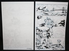 Shark #1 p.2 - Villains Diving - Set of 2: Pencil and Blue Line Ink Art Only Pages - Signed Comic Art