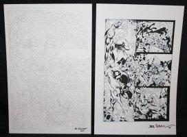 Shark #1 p.3 - Shark Hero vs. Villains Splash - Set of 2: Pencil and Blue Line Ink Art Only Pages - Signed Comic Art