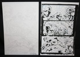 Shark #1 p.4 - Shark Hero breaks free from net - Set of 2: Pencil and Blue Line Ink Art Only Pages - Signed Comic Art