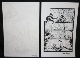 Shark #1 p.5- Shark Hero and Baddie Face Off - Set of 2: Pencil and Blue Line Ink Art Only Pages - Signed Comic Art