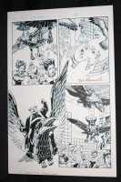 L.A. King #1 p.2 - Flying Mechanical Bird - Blue Line Ink Art Only of Sal Velluto Pencils - Signed Comic Art