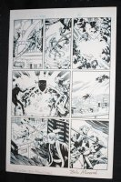 L.A. King #1 p.4 - Knight vs. Armed Man on Mechanical Bird - Blue Line Ink Art Only of Sal Velluto Pencils - Signed Comic Art