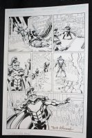 L.A. King #1 p.5 - Knight defeats Armed Man on Mechanical Bird - Blue Line Ink Art Only of Sal Velluto Pencils - Signed Comic Art