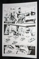 Red Wing #1 p.2 - Police Chase - Blue Line Ink Art Only of Sal Velluto Pencils - Signed Comic Art