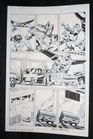 Red Wing #1 p.4 - Flying Hero Rescues Babies - Blue Line Ink Art Only of Sal Velluto Pencils - Signed Comic Art