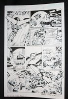 Red Wing #1 p.5 - Flying Hero Saves the Day - Blue Line Ink Art Only of Sal Velluto Pencils - Signed Comic Art