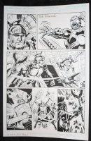 Senator #1 p.4 - Hero vs. Villain Action - Blue Line Ink Art Only of Sal Velluto Pencils - Signed Comic Art