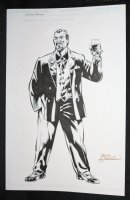 Crime Lord Character Study - Blue Line Ink Art Only of Sal Velluto Pencils - Signed Comic Art