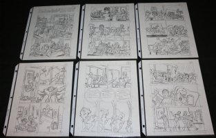Archer and the Gang in 'Cram Craze!' 6 Page Story Layouts - Signed Comic Art