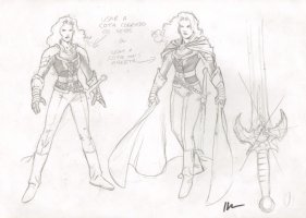Lady Death Medieval Costume Design Drawing - Signed Comic Art