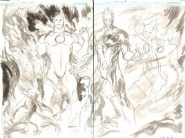 Brightest Day #23 pgs 16 & 17 - Aquaman, Hawkman, Hawkwoman, and Others DPS Prelim - 2011 Signed Comic Art
